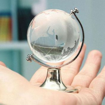 6.5*4.5*4.5cm Gold Silver Paperweight Stand Table Ornaments Desktop Glass Sphere Ball Cute Home Decoration Round Earth Globe