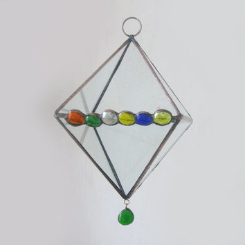 Stained glass small  terrarium.Geometric planter Octahedron.Succulent terrarium.Air plant terrarium