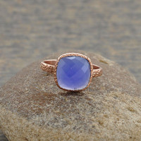 Blue Chalcedony Beautiful Textured Cushion 10mm Micron Rose Gold Plated 925 Sterling Silver Gemstone Ring - #1430