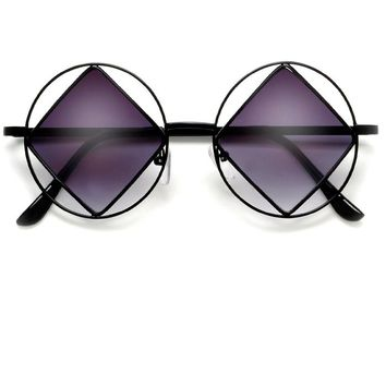 Unique Hippie Indie Retro Vintage Circular Rim with Diamond Shaped Lenses Sunglasses