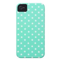 Mint Green And White Stars iPhone 4 Case from Zazzle.com