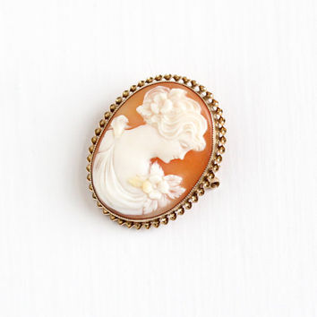 Antique 10k Rosy Yellow Gold Carved Shell Oval Cameo Brooch - Vintage Petite 1920s Lady with Flower William C. Greene & Co Fine Jewelry Pin
