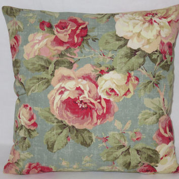"Aqua and Pink Floral Pillow, Vintage Roses, 17"" Sq, Weathered Robins Egg Blue, Red Green Peach, Zipper Cover Only or Insert Incl, Ready Ship"