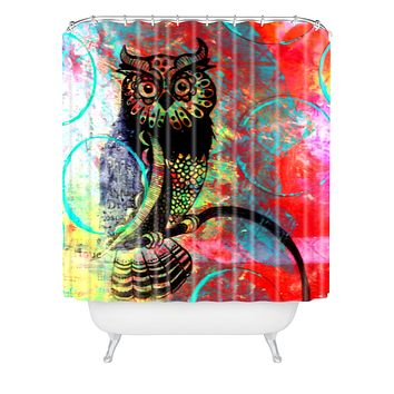 Sophia Buddenhagen Color Owl Shower Curtain
