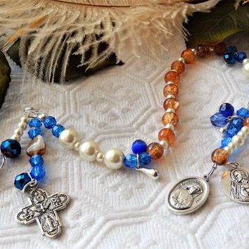 Amber Ivory & Cobalt Blue Divine Mercy Chaplet W/Charms Saints/Cross/Madonna/Christ