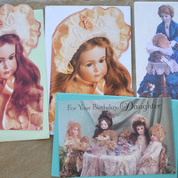 Lot of 4 Doll Themed Greeting Cards NOS