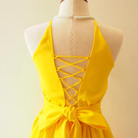 Cross Rope Dress Bright Yellow 1950 Dress Yellow Robe Vintage La La Land Style Dress Yellow Bridesmaid Dress Yellow Prom Dress Evening Dress