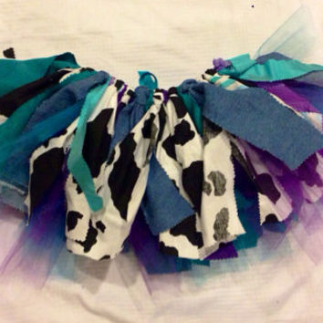 Turquoise & Purple Cowgirl costume - purple cowgirl skirt - Cowgirl birthday Tutu, Double layer, shabby chic fabric tutu - Choose your size