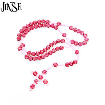Pink Rosary Bead Cross