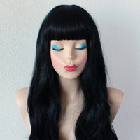 Black wig. Long black hair wig. Straight cross bangs wig. Long black hair short bangs wig. Pin up hairstyle. Wig. Heat resistant wig.
