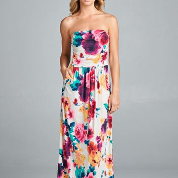 Balmy Evening Maxi Dress - Ivory Floral