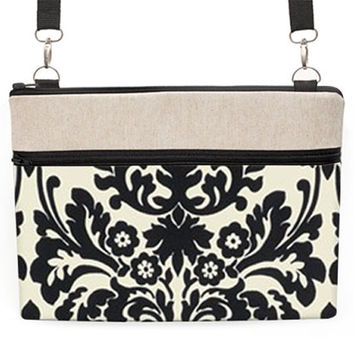 "13"" Laptop Zipper Case, 11"" MacBook padded sleeve with straps, Macbook Air 13"" Travel Bag, 11 inch MacBook Cover -  black and cream damask"