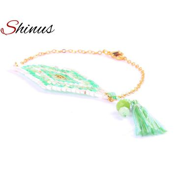 Shinus Bracelets Femme 2017 Fashion Boho Jewelry Bracelet Tassel Seed Beads Weaving Patterns Link Chain Handmade Braided Bohemia