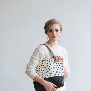NEW Fall 2013 Charcoal Dot Tote, Hand Printed, Leather, Brass Zipper