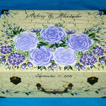 Wedding Guest Box Custom Wedding Keepsake Box Hand Painted Suitcase Card Box Personalized Wood Box Wedding Box Memory Box Gold Wood Gifts