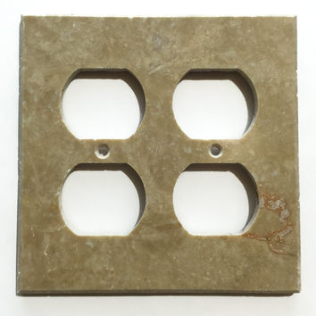 Light Walnut Travertine Double Duplex Switch Wall Plate / Switch Plate / Cover - Honed