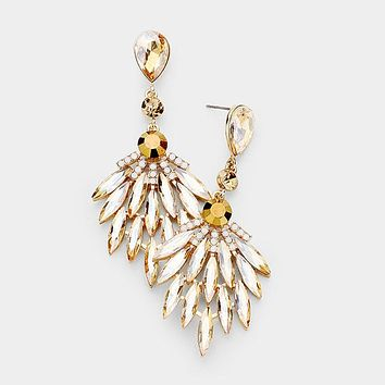 Marquise Oval Crystal Cluster Vine Evening Earrings