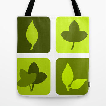 Green leaves Tote Bag by cycreation