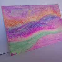 Abstract Landscape Original Watercolor Painting, Mountain Water Painting,Purple Green Pink small painting
