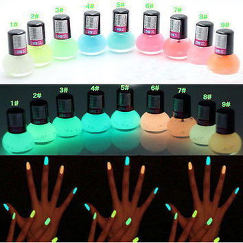 1Pcs Candy Colors Nail Lacquers Fluorescent Luminous Neon Glow In Dark Varnish Nail Art Polish Enamel