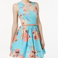 City Studios Juniors' Belted Floral-Print Fit & Flare Dress | macys.com