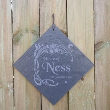 Family Name Sign Engraved in Slate with your Name and Wedding Date