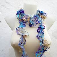 Handmade Crochet Blue Purple Brown Scarf Fall Fashion Frilly scarf Ruffled Scarf Winter Accessories