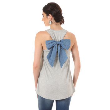 Wrangler Womens Grey Solid Blue Bow At Center Back Tank Top