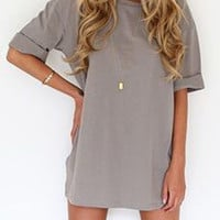 Grey Folded Half Sleeve Tee Dress
