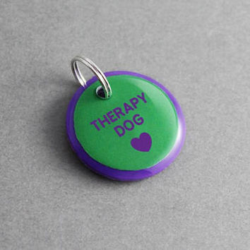 Dog ID Tag Therapy Dog - Pet ID Tag, Service Dog, Puppy, Puppy Collar, Dog Collar, Dog Leash, Dog Clothes, Dog Lover Gift, Custom
