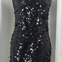 Black sequin dress / size XS / S / 4 / 6  / 90s sexy sequined dress / party cocktail dress / bodycon