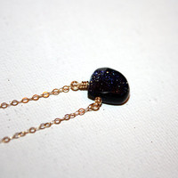 galaxia  midnight goldstone necklace by lilla by LillaStjarna