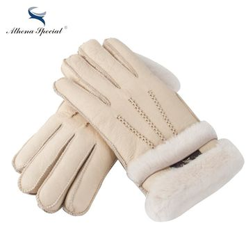 Athena Special Women Warm Woolen Mittens Women Gloves Real Leather Wool Fur Gloves Lovely Girl Sheepskin Leather Gloves For Lady