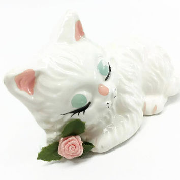 Vintage Kitsch Sleeping White Cat Figurine