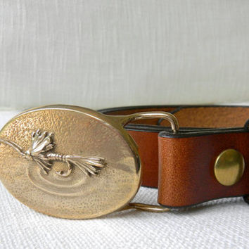Men's Handmade Bronze Royal Wulff Fly Belt Buckle Brown Belt Fly Fishing Belt