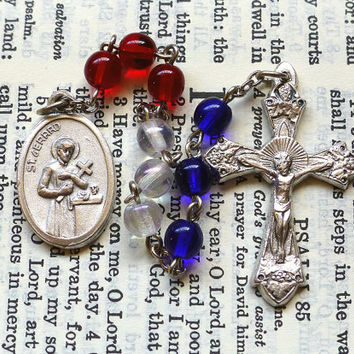 St. Gerard Chaplet - Patron of Mothers, Red Blue and White