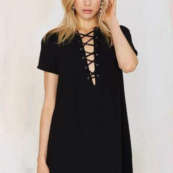 Short Sleeves Drawstring V-Neck Mini Shift Dress