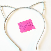 Ariana Grande Cat Ears , Cat costume , pearl cat ears , Halloween cat ears , cat ears headband , cute cat ears , celebrity inspired