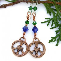 Peace Signs and Hearts Earrings, Copper Bronze Swarovski Crystals Handmade Boho Jewelry for Women