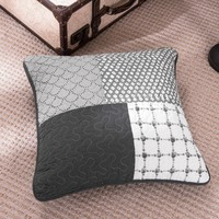 "DaDa Bedding Set of Two Classical Shades of Grey Quilted Cushion Covers, 18"", 2-PCS (JHW-606-CC)"