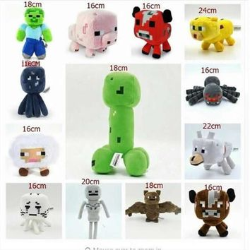 Minecraft Plush Toys Ocelot Creeper Zombie Spider Enderman Bat Plush Toys Genuine JJ Dolls Game Cartoon Kids Toys Gifts