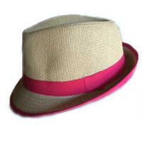 Fedora Hat Straw Tan Straw & Hot Pink Band