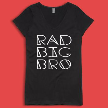 Rad Big Bro Rad Big Brother Brother Big Brother Trendy Kids Onesuit Sibling New Big Brother Women'S V Neck