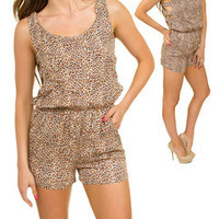Animal Print Cut Out Romper -- Sassy Deal