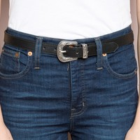 Etched Silver Buckle Belt - Belts - Accessories