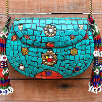 Big Indian Metal Clutch Inlaid Stone Pouch Ethnic Purse Gypsy Boho Bag Bohemian