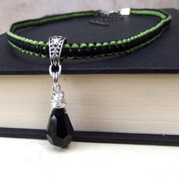 Wire Wrapped Crystal Necklace:  Lime Green and Black Macrame Cord Bohemian Unisex Jewelry, Womens, Mens Adjustable Choker