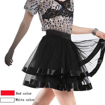Women's Mini Tulle Skirts Black Red White Dance Wear Tutus Bottoms Clothing = 1945986308