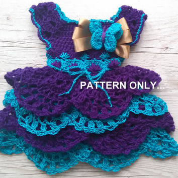 Crochet baby dress pattern, crochet baby clothing pattern, butterfly dress, 0-3 and 6-9 months, dress pattern, How to make baby dress