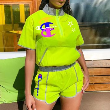Champion New fashion letter print top and shorts two piece suit Fluorescent Green
